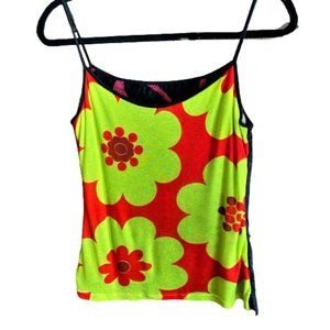 Vintage 90s embroidery & lace reversible tank top